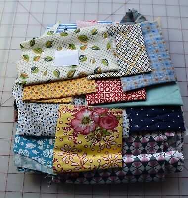 7665  1/2 lb Bag of 1920-50's unused dress weight fabric scraps #4, florals