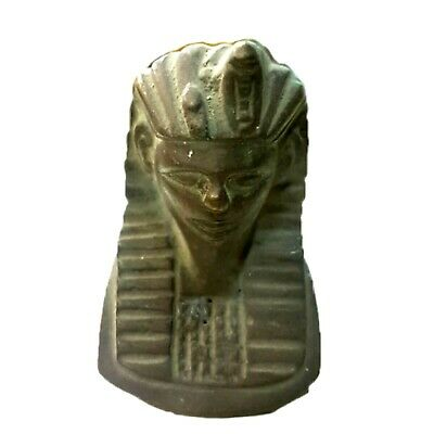 Vintage Egyptian King Decor Black Queen Bust Head Figure Art Pharaoh Statuette