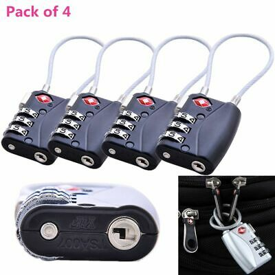 4x TSA Approved Security Cable Luggage Lock 3-Digit Combination Password Padlock