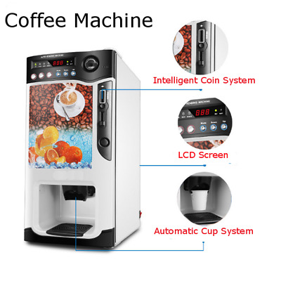 110V Automatic Dropping Cups Beverage Drink Coffee Tea Vending Machine US Plug !