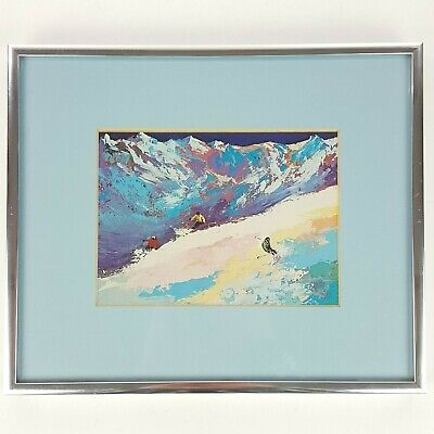 LeRoy Neiman Promo Postcard High Altitude Skiing w/ Metal Frame Matted Wall Art