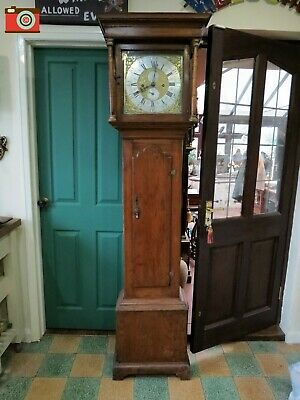 Antique Long Case Grandfather Clock, 8 Day, Hampson Circa 1760. Great Character