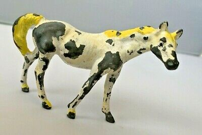 Vintage Cast Iron Horse Painted Durham Metal Die White Yellow Figure Toy