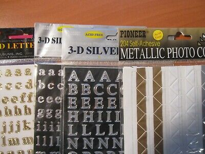 7 Packages of Assorted Rainbow Photo Corners, 3d gd/ silver letters,Metallic P/C