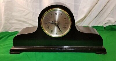 Ansonia TAMBOUR style mahogany color Mantle Clock quartz time