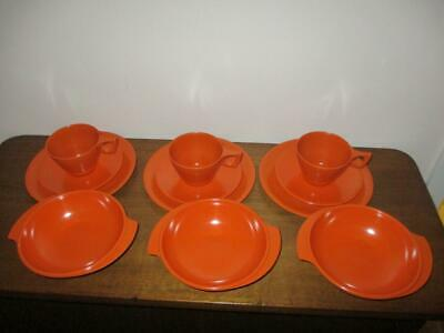 12 Pieces Vintage Retro Ornamin Ware Melmac x 3 Sets Trios & Bowls Bright Orange