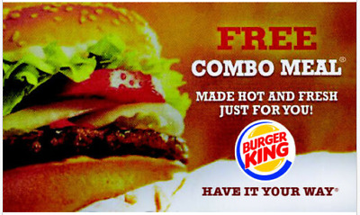 Lot of 100 Burger King Combo Vouchers - SUPER FAST DELIVERY W/ Tracking!