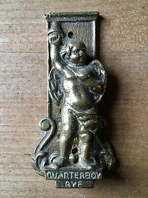 Vintage Brass Door Knocker Quarterboy Of Rye Cherub Figure Small Antique