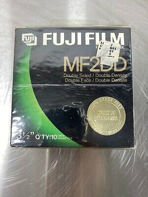 "Box Of 10 Fujifilm Mf2Dd Floppy Discs 1 Mb 3.5"" Double Face Fuji Film Brand New"