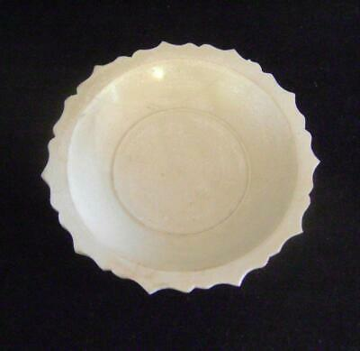 "Chinese Ming Dynasty Monochrome Dish: Barbed Rim &  Floral ""Ghost"" Pattern A/F"