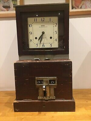 Works Vintage Oak Cased 1920s NATIONAL TIME RECORDER CO LTD clocking in Machine