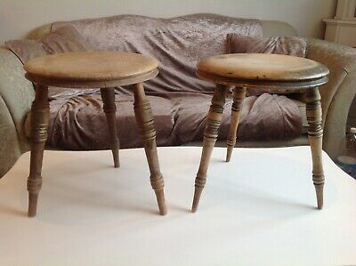 "Pair of Antique Victorian Elm with 3 Beech turn legs Milking Stool 13"" high"