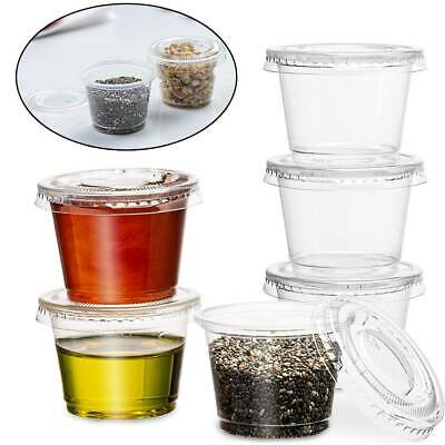 50~200Pcs Small Plastic Sauce Cups Food Storage Containers Clear Boxes with Lid