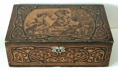 Antique Scenic Renaissance Drinking Smoking Wood W/Tin Lined HUMIDOR Cigar BOX