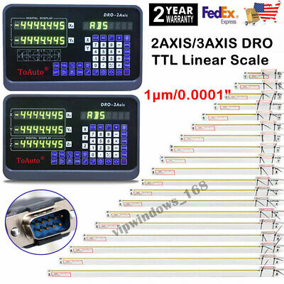2/3Axis Digital Readout DRO Display 1μm Linear Glass Scale High Precision US