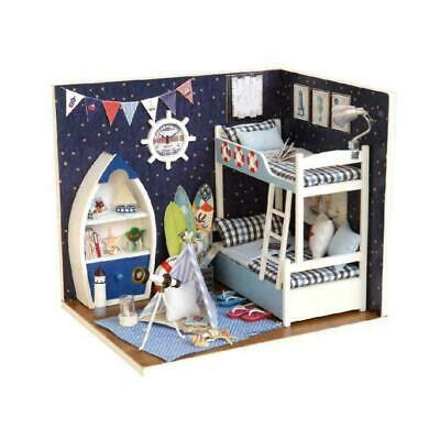 LED Light Doll House Wooden Dollhouse Miniature Assembling Toy Kit Puzzle 3 M7Z3