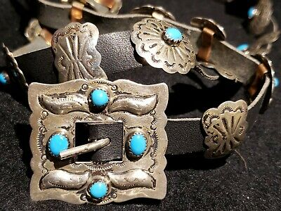 Old Pawn Navajo Concho Belt Sterling Silver Hand Forged Antique SOUTHWEST