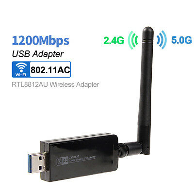 1200Mbps Dual Band RTL8812AU Wireless USB WiFi Adapter Dongle Antenna 802.11ac