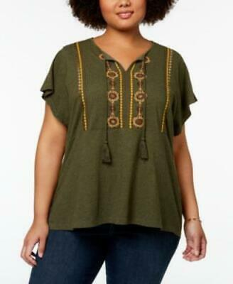 Style & Co Womens sz 0X Olivia Green Embroidered Boho Relaxed Fit Flutter Blouse