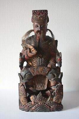 Antique Chinese Carved Wooden Temple Figure, Xuanwu, 玄天上帝, Asian Wood Carving