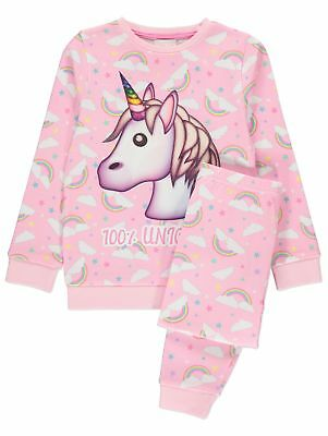 Girls Pink Emoji Unicorn Pyjamas Long Sleeve & Legs Sizes 4-14 Years