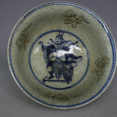 """6.69"""" Old Chinese Antique porcelain Blue and white painting people Handmade bowl"""