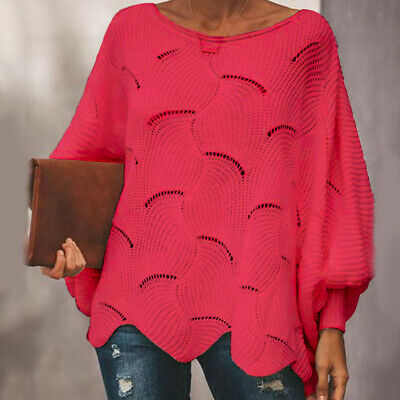 Womens Baggy Knitted Sweater Pullover Ladies Hallow Out Long Sleeve Jumper Tops