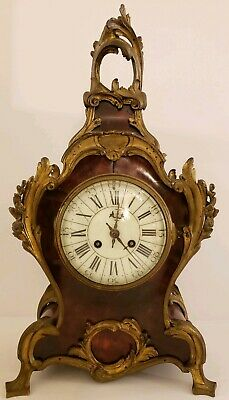 Antique 1855 V. Depose French Boulle Victorian Red Shell Bracket Mantel Clock