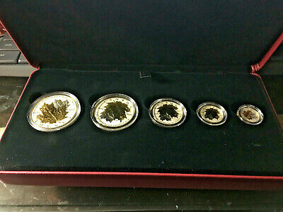 2014 Fractional Set*Canada Maple Leaf Silver 5 Coin 24K Gold Gilded