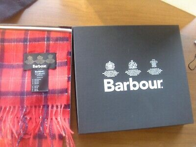 New Barbour  Red Tartan  100% Wool Scarf & Glove Set In Gift Box