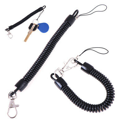 2Pc Retractable phone spring elastic rope security tool anti-lost keychain blue