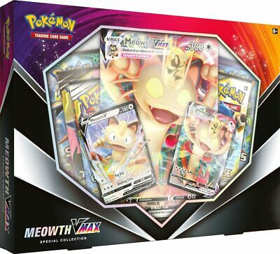 Pokemon TCG Meowth VMAX Box Collection Sword & Shield 5 Booster Packs