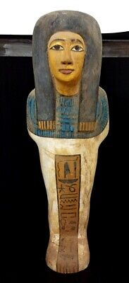 Egyptian Ushabti Ancient Shabti Statue Faience Egypt wood Antiques Hieroglyphic