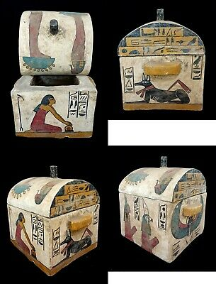 Anubis Hieroglyphic Pharaonic box Egyptian Antique isis Winged scarab Ancient
