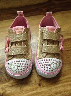 Kids Girls Skechers Twinkle Toes Itsy Bitsy Pink Light Up Pumps Trainers Size 7