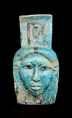 Bust Isis Egyptian Hathor Antique Faience Ancient Figurine Goddess Antiquities