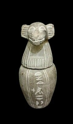 Canopic Egyptian Jar baboon Ancient Statue Stone Hapi hieroglyphic Antiques art