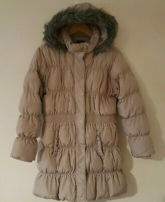 Next Girls Long Gold Padded Coat Shower Resistant Hooded Jacket Size 15-16 Years