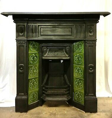 AN ATTRACTIVE ANTIQUE VICTORIAN TILED CAST IRON COMBINATION FIRE Ref FC0069