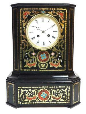 SUPERB 1850s EBONY BOULLE 8 DAY FRENCH MANTLE CLOCK BELL STRIKING