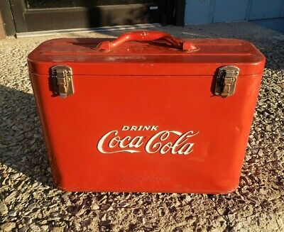 1950s Coca Cola Cavalier Airline Cooler Coke Airplane Picnic Sign Vintage Retro