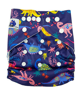Modern Cloth Reusable Nappy Diaper & Insert, Pretty Dinosaurs