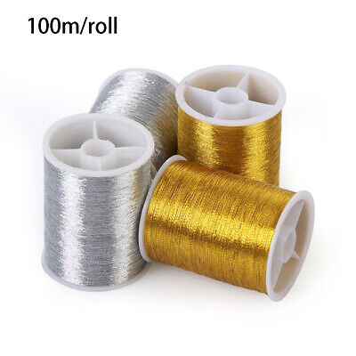 Gold/Silver 100 Metres Embroidery Thread Cross Stitch Sewing Machine Gold Wire