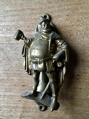Brass Door Knocker Male Figure Drinking Ale Hardware Salvage Vintage Small