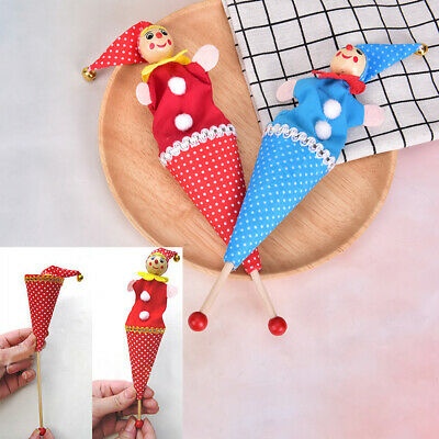 Baby Rattle Toys Retractable Smiling Clown Jingle Bell Wooden Educational Toy_UK