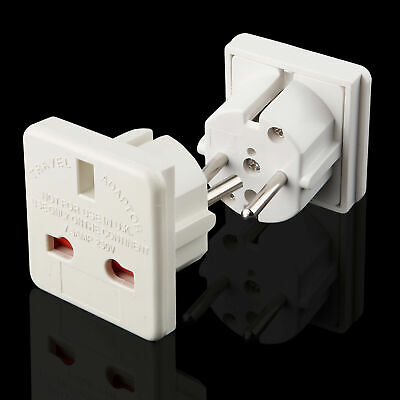 Adaptateur Secteur Prise Anglaise UK vers FR France Europe Voyage Adapter White