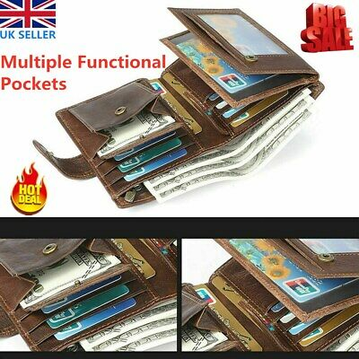 Mens RFID Leather Wallet Trifold Purse Credit Card Holder Coin Money Pockets UK