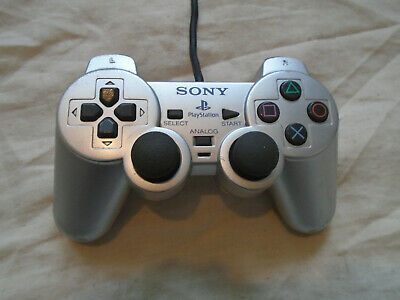 PS2 Sony Playstation SILVER Dual Shock2 Official Controller pad tested & working