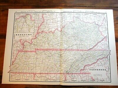 "1890 Railroad & County Map ~ TENNESSEE & KENTUCKY ~ 22"" x 15 7/8"", Colored Map"