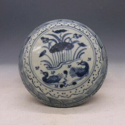 "4.72"" Old Chinese Antique porcelain Blue white painting lotus Jewelry Box"